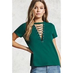 Forever 21 Lace-Up Boxy Tee Top